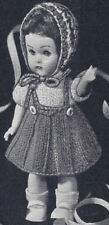 """Vintage Knitting PATTERN to make 8"""" Inch Doll Dress Clothes Outfit Hat Knit8Doll"""