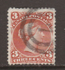 Canada Sc 25 used 1868 3c red Large Queen, F-VF