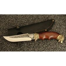 AWESOME CUSTOM HANDMADE KNIFE *WOLF HUNTING*  PLATED PATTERN + LEATHER SHEATH