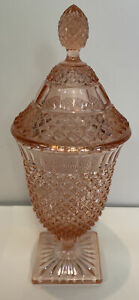 Hocking Miss America Footed  Pink Depression Candy Dish With Cover Mint!!!