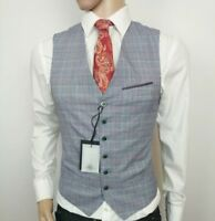 Ted Baker London Mens Waistcoat Grey Prince Wales Check Size 1 34R New RRP£150