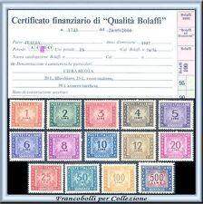 1947-54 Italia Repubblica Segnatasse Ruota n. 97/110 Certific. Bolaffi Nuovi **
