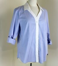 Orvis Size16 Blue Shirt White Collar Blouse Button Front Wrinkle Free Cotton