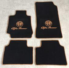 Autoteppich Fußmatten für Alfa Romeo Giulia 952 schwarz cognac Velours 4tlg Neu