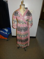 1960's Marshall Field's 28 Shop Lavender Print Faux Wrap Dress, Metallic Accents
