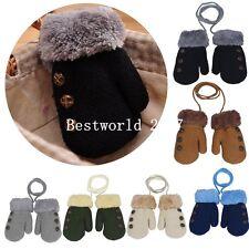 Children Kids Baby Plush Winter Hand Warm Gloves Mittens With Neck String Strap