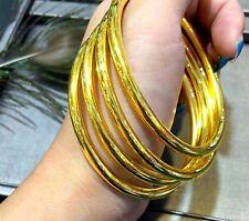 Gold Bangle Single Bracelet New Pure 22K Yellow Women's Lucky Smooth Bracelet