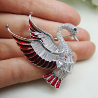 Woman Vintage Red Flying Swan Bird Pendant Brooch Pin Zircon Crystal Jewelry