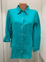 Chicos size 2 Button Blouse roll up Long Sleeves linen cotton
