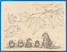 Rare House Mouse AUTUMN SPRINKLES Rubber Stamp - Fall Leaves Rain Chipmunk Mice
