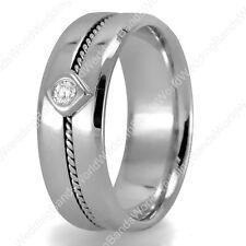 Handmade Men's Diamond Wedding Band in 14K Gold 6.5mm 0.08Ctw Men's Wedding Ring