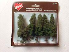 """Heki 1122, 5 - Black Poplar Trees, 3 1/2"""" Tall, Dark Green, New Mint In Box"""
