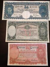 Reproduction Set Australia King George VI 10 Shillings £1, £5 1938-41 Pounds