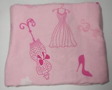 BARBIE twin flat sheet pink 2009 dress shoes Mattel doll crafts quilting