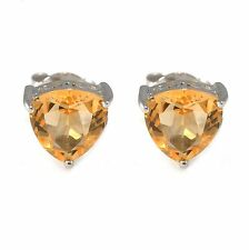 1.1ct 6mm Genuine Citrine Trillion Solid Sterling Silver Stud Fashion Earrings