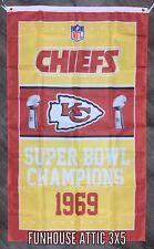 Kansas City Chiefs NFL Super Bowl Championship Flag 3x5 ft Banner Flag NEW