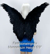 FashionWings (TM) Black Butterfly Style Costume Feather Angel Wings Adult Unisex