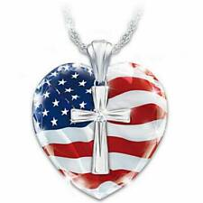 American Flag Shiny Exquisite Fashion Diamond Cross Heart Crystal Necklace
