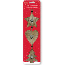 3x Madera Vintage árbol de Navidad Decoración para colgar Corazón Estrella Pared