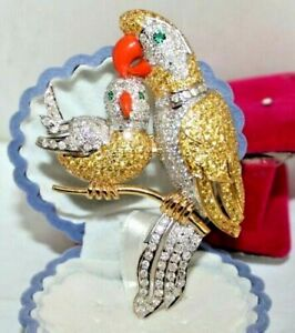 2.43CT NATURAL DIAMOND EMERALD 14K SOLID YELLOW GOLD PARROT MOM AND BABY BROOCH