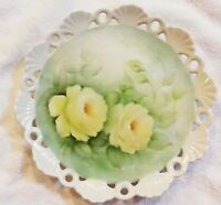 Hand Painted Porcelain Plate Yellow Roses Flowers Artist Signed