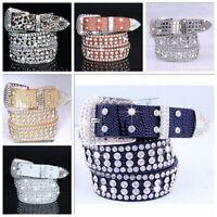 Stylish Leather Bling Rhinestone Crystal Western Cowgirl Belt Waistband Womens G