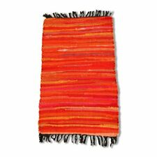 Cotton Chindi Orange Tonal Rug Mat 50 x 80 cm