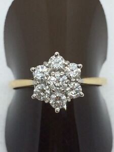 18ct 7 Stone Diamond Cluster Full London Hallmark 0.75 Carat