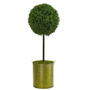 Multicolor 2.5' Boxwood Topiary Artificial Tree in Green Tin UV Resistant (Indoo