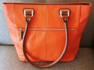 Tignanello Pretty Orange & Brown Pebbled Leather Tote with Free Priority Ship!!!