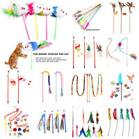 Pet Cat Stick Teaser Wand Playing Rod Cats Interactive Feather Scratch Toys