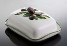 BASSANO Butterdose Butterschale m. Olivendekor italienische Keramik 18x14 -250gr