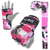 DEFY Gel Padded Ladies Inner Gloves with Hand Wraps MMA Muay Thai Pink Camo