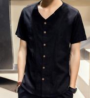 Fashion Mens solid Linen Shirts V-neck Summer Casual Short Sleeve Tops Vest