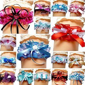 Braut Strumpfband verschiedene Farben und Muster Hochzeit Strumpfbänder NEU EU