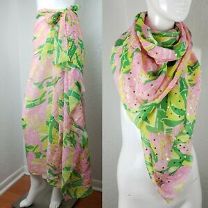 Lilly Pulitzer Large Scarf Fan Dance 20 Years Pink Green Sheer Shawl Sarong