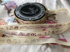 Vintage Antique Happy Easter Ribbon Bunny Cart Eggs Church Taffel Bros 3 Yd Nos