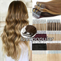 Tape in Skin Weft Real Remy Human Hair Extensions20Pcs MixHighlight Ombre Colors