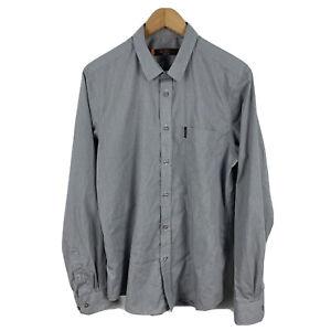 Ben Sherman Mens Button Up Shirt Size Large Grey Long Sleeve Collared 49.30