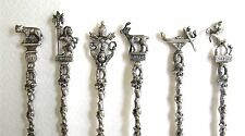 """Set 6 Italian 800 Silver Cocktail Drink Mixer Collectible Spoons 7 1/2"""" (#739)"""