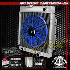 "FULL ALUMINUM 3-ROW RADIATOR+14"" BLUE COOLING FANS 64-66 FORD MUSTANG V8 I6 MT"