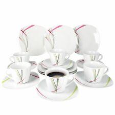 Geschirr Kaffeeservice Fashion 36tlg. eckig 12 Personen Porzellan Liniendekor