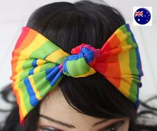 Women Girl Rainbow Stripe Bohemian Cross Bandana Hair band Headband Wrap Scarf