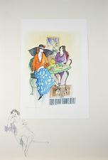"""Two at Tea in Tel Aviv"" By Itzchak Tarkay Signed Original Watercolor & Pencil"