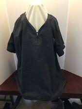 Butter-Soft Stretch Smock Uniform Womens Top Polo Style Zipper 4X Gray