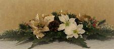 Christmas Centerpiece Decor Candlestick trio Holder Poinsettias Pine Cones, OOAK
