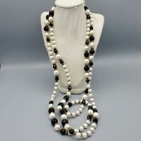 """Massive Vintage Faceted Black Glass and White Faux Pearl Long Necklace 70"""""""
