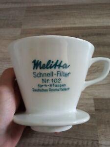 MELITTA Filter 102 Deutsches Reichs Patent Schnell Kaffeefilter Porzellan