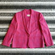Vtg USA Made Pendleton Petite Sz 12 100 Wool One Button Blazer Jacket Pink Plaid