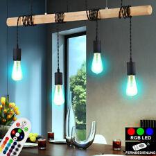 RGB LED Hänge Decken Lampe DIMMBAR Holz Balken Vintage Leuchte FERNBEDIENUNG